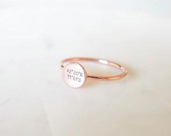 30% OFF Coordinates Disc Ring • Dainty Personalized Coordinates Ring • Custom Coordinate Ring • Location Ring • Longitude Latitude Ring RM20