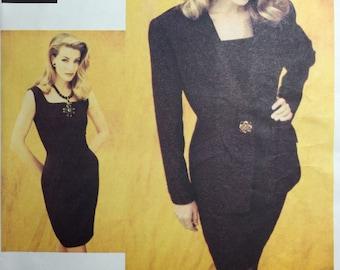 Vintage 90's Vogue 1049 Attitudes Badgley Mischka Jacket & Dress Pattern sizes 6,8,10 Uncut