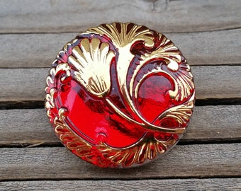 27mm Red Tulip Button Czech Glass BC79,ruby red button,red flower button,sewing buton,red tulip button,red glass buttons,glass flower button