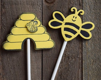 Bee and Beehive Cupcake Toppers, Bee Birthday Party Cupcake Toppers, Mom To Bee Cupcake Toppers (Set of 12)