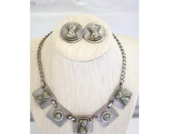 Silver Confetti Glitter Geometric Necklace and Clip On Earring Set