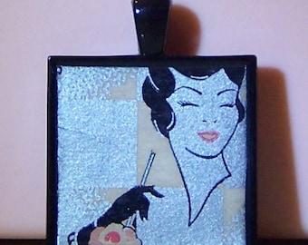 Vintage Art Deco lady with ice cream soda black glove matchbook bezel necklace pendant keychain wine charm