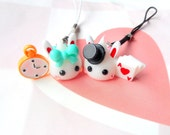 Hoppe Chan Kawaii Charm Set, Alice In Wonderland, Mad Hatter Charm, White Rabbit, Best Friend Gift, Couples Keychain, Kawaii Keychain Set