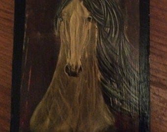 Whimsical mare in moonlight horse art