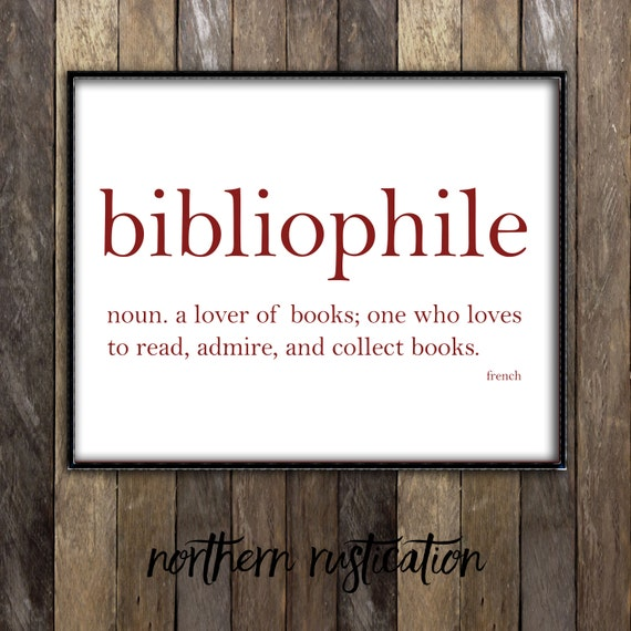 Bibliophile dictionary art print word definition typography for Decor meaning