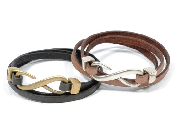 Valentines Gift Couples Infinity Leather Bracelet By