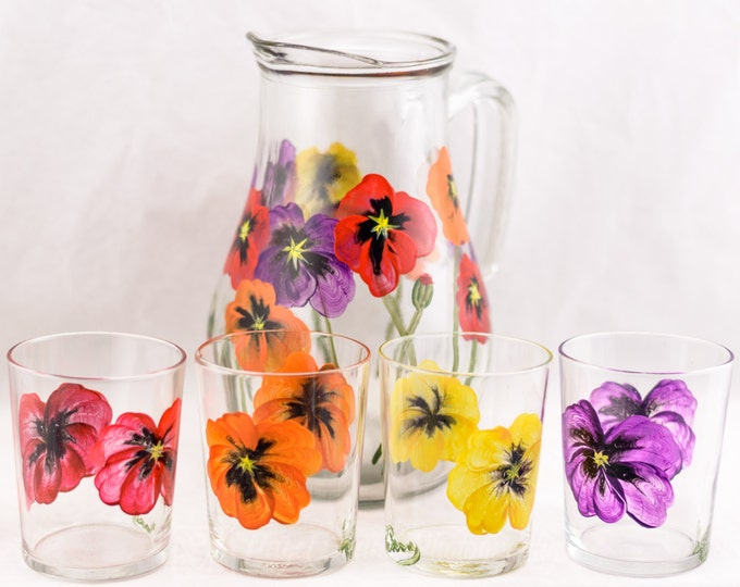 Featured listing image: Pitcher and Juice Glasses (4) Poppy Design - Hand Painted