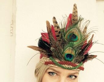 DIANA - handmade feather headdress, Headpiece, Feather Headband, Ibiza, Burning man, Festival Accessories, Tribal, Native American, Bohemian