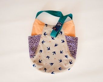 Canvas shoulder bag, Fabric tote, Cute tote bag, 241 tote, Japanese cotton  Swallow print