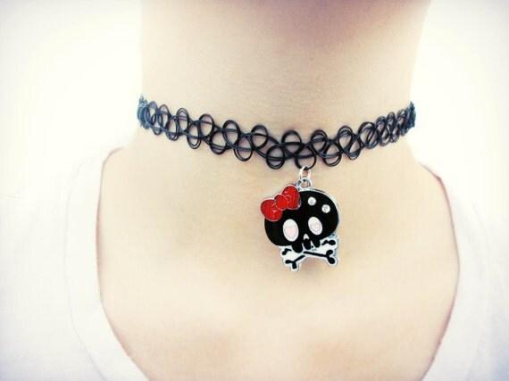 Goth skull choker emo punk kawaii creepy cute soft by for Pastel goth tattoos