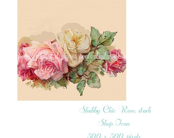 Shop Icon, Shabby Chic Dark Rose, instant download, blank file, roses, pink, ivory, green, peach, 500 x 500 pixels,
