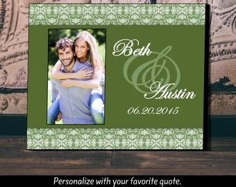 Personalized Picture Frame, Damask Photo Frame, Gift for Couple, Anniversary Gift