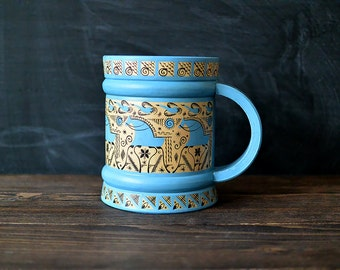 Handmade wooden mug. Home decor. Russian folk art.