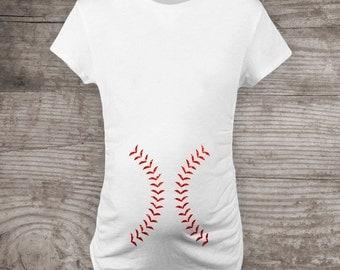Maternity shirt Sparkly baseball tshirt glitter personalized womens non-maternity or maternity, softball pregnancy announcement t-shirt