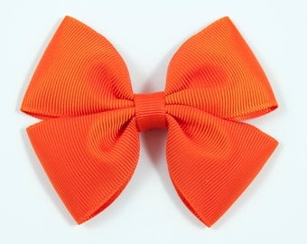 Orange Hair Bow, Orange Bow, Orange Double Tuxedo Bow, Orange Hair Clip (Item #10426)