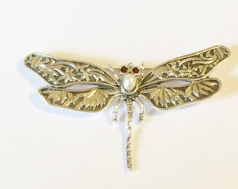 Sterling Silver Garnet And Pearl Dragonfly Brooch