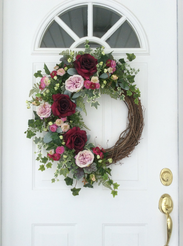 Summer Wreath Spring Wreath Summer Door Wreath Garden