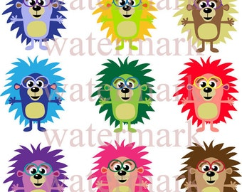 Colorful Hedgehog In Glasses Clip Art 9 Image Collection