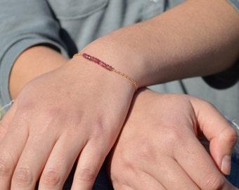 Pink Tourmaline Bracelet, Danity Stacking Bracelet, 14k Gold Fill, Sterling Silver, Rose Gold, Pink Bracelet, Bar Bracelet, Gold Bracelet
