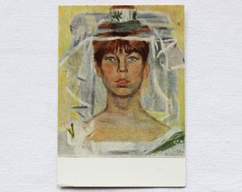 "Artist Vasiliev. Vintage Soviet Postcard ""The bride"" - 1968. Sovetskiy hudozhnik. Girl, Woman, Bridal veil, Wedding, Yellow, White, Dress"