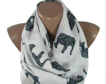 Elephant Scarf Ethnic Black Elephant Infinity Scarf Animal Scarf Boho Scarf Valentine Mothers Day Christmas Gift For Her Gift for Girlfriend