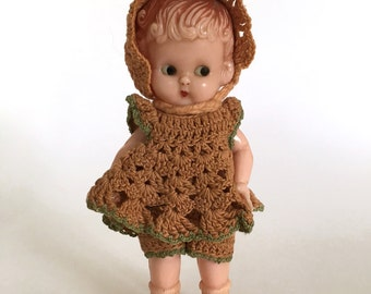vintage Knickerbocker doll, miniature doll, celluloid doll in crocheted dress