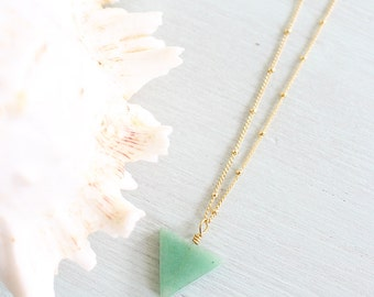 Aventurine Triangle Necklace - Natural Green Aventurine Necklace - Long Aventurine Necklace - Green Adventurine Necklace