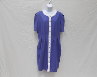 Vintage 1980s royal purple darted mini dress by Ms. Choice / Large / 80s valley girl secretary hipster