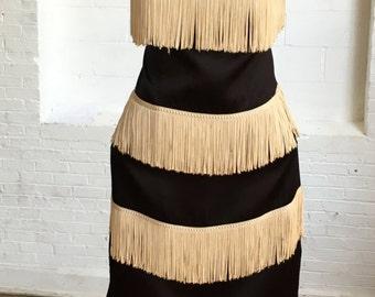 Black and White Fringed Vintage Dress