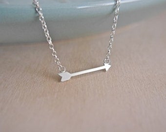 Sterling Silver Arrow Necklace / 925 / chain / gifts for her / hypoallergenic / stocking filler / choker / stocking filler
