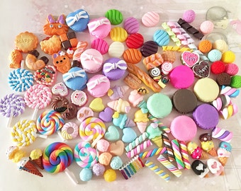 BULK Decoden Sweets Cabochon Mix (30 pcs by RANDOM) Kawaii Cabochons Resin Polymer Clay Cell Phone Deco A0237