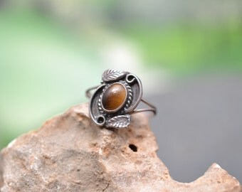 Sterling Silver and Tigers Eye Leaf Ring