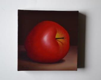 Original 6x6' acrylic small still life painting, apple painting, kitchen painting, kitchen art, food painting, tiny fruit painting, red