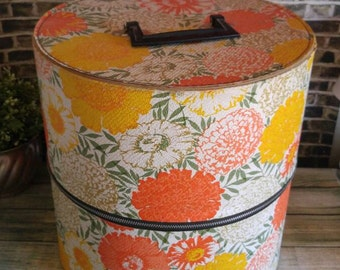 Vintage Wig Box, Bright Orange Yellow Floral