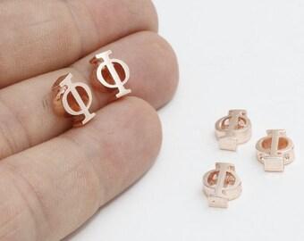 1 Pcs Rose Gold Phi Letter, Phi Letter, Greek Letters, Phi Jewelry, Greek Alphabet, Phi Charm ,ROSE371