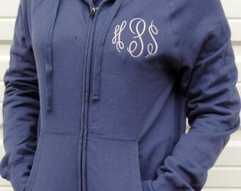 Monogrammed Full-Zip Hooded Sweatshirt (Hanes Nano Zipper / Zip Up Hoodie Jacket with Hood) N280