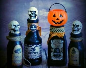 OOAK Witch Potion Bottles Set of 4 ~ Halloween Decoration Glass bottles
