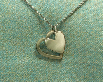 Silver Double Heart Pendant. Hallmarked Solid Sterling Silver. Great Valentine Gift for Her