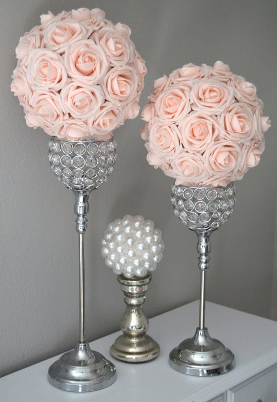 Pink Blush Kissing Ball Wedding Centerpiece Pink By