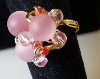 GR01 Gemstone ring, pink catseye,  with crystals, gold wire, size 8