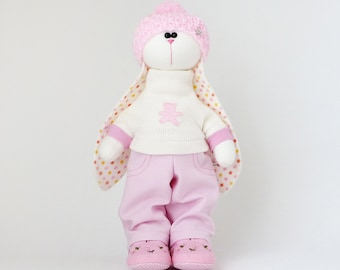 Animals dolls, Fabric bunny  doll 37 cm (14 in)  for girl, Easter rabbit plush pink