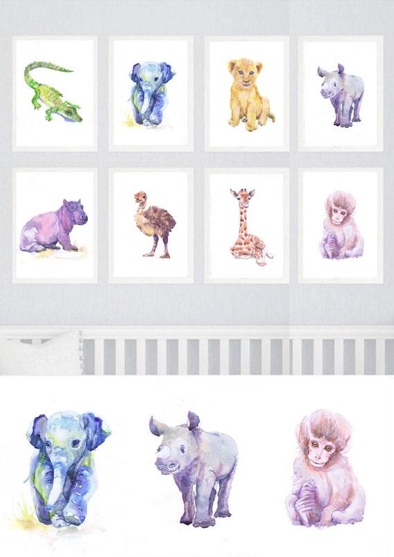 Baby Animals Nursery Set of 8 prints Watercolor painting Boy