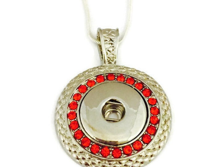 Snap Jewelry-Snap Necklace- Red Snap Necklace on a Silver Chain- Fits Ginger Snap and Noosa Snap Buttons - Interchangeable Jewelry