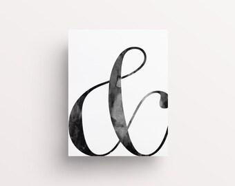 Ampersand Print, & Print, Ampersand Poster, Scandinavian Print, Scandi Posters, Minimalist Poster, Watercolor Ampersand, Black and White