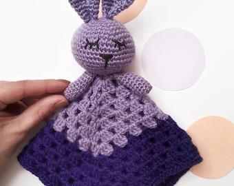 Crochet purple baby security blanket - Crochet snuggle blanket - Rabbit toy -  Crochet bunny doudou - Newborn baby gift - Baby shower gift