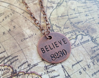 """Do you BELIEVE? Inspirational Necklace:Tim Holtz Philosophy Tag, 1"""" Copper Metal Engraved """"8230"""" Charm on 21""""Copper Link Chain&Lobster Clasp"""