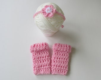 Baby Legwarmers & Tie Back headband- Newborn, 03, 3-6 months, 6-12 months. Crochet-  Photography Props-  You choose the color