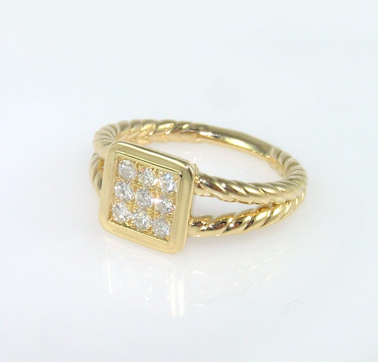 square engagement ring gold rope ring square diamond ring