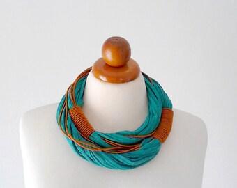 Tribal necklace African necklace chunky necklace chunky statement necklace African clothing wool necklace bold necklace multi strand