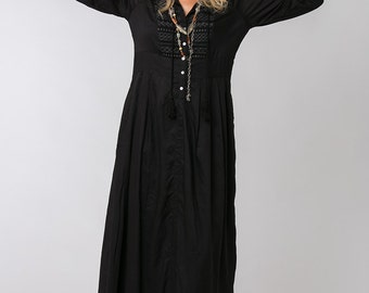 Long Sleeve Black Dress, Bohemian Dress, Loose Dress, Black Maxi Dress, Long Black Dress, Bohemian Chic, Womens Dresses